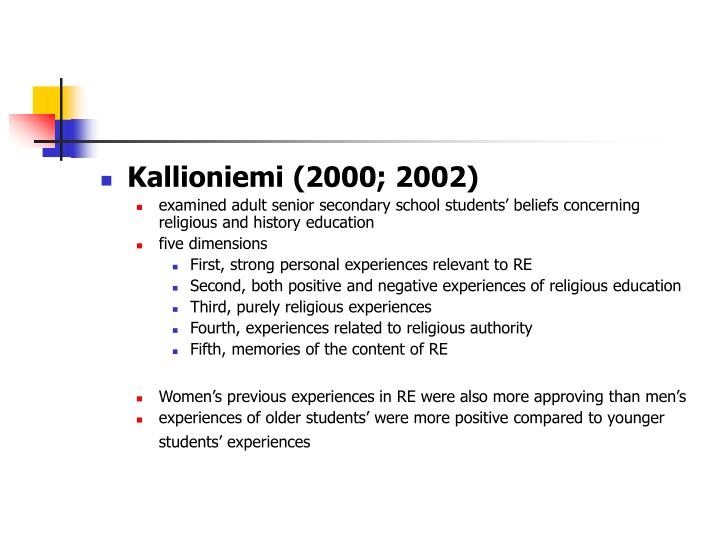 Kallioniemi (2000; 2002)