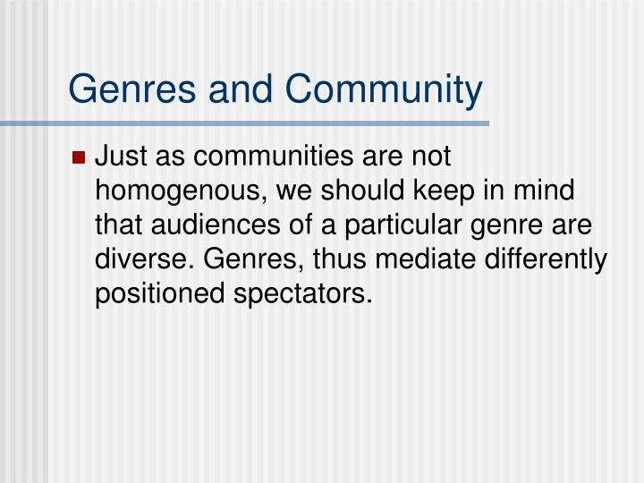 Genres and Community