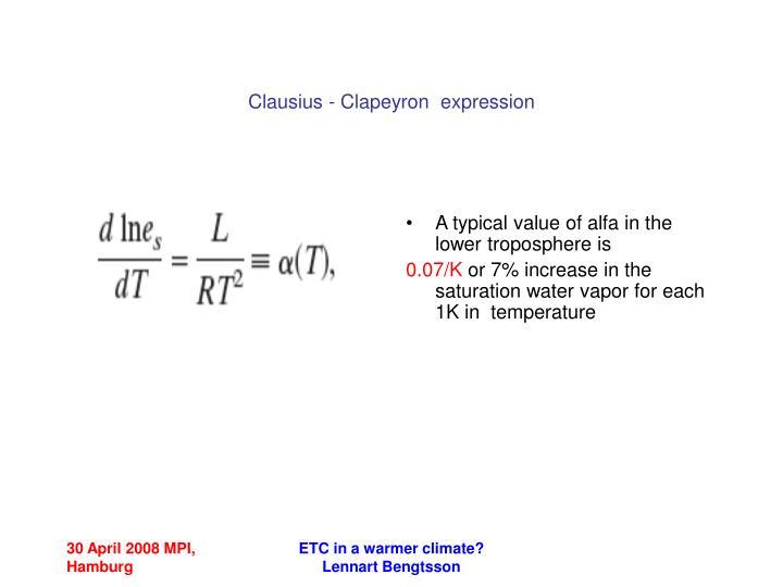 Clausius - Clapeyron  expression