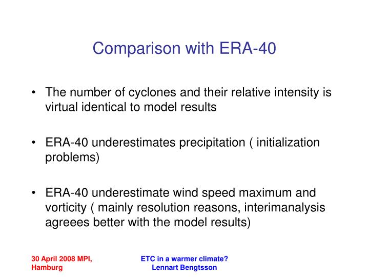 Comparison with ERA-40