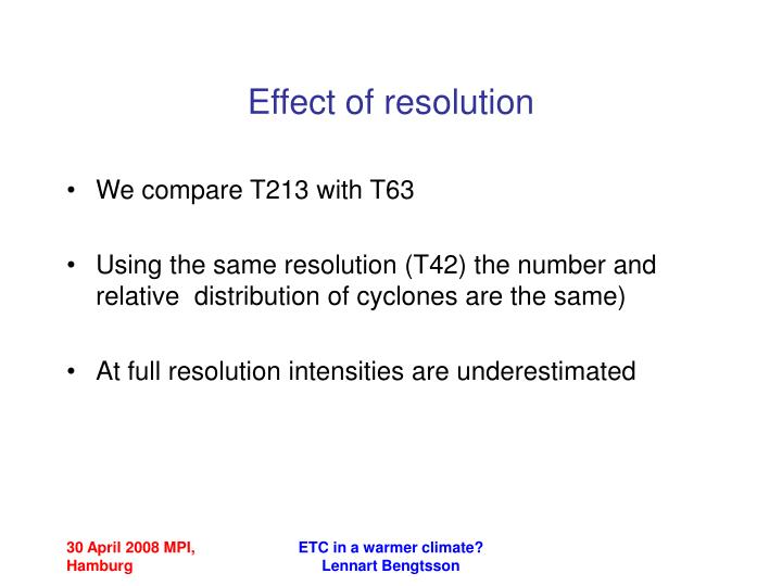 Effect of resolution