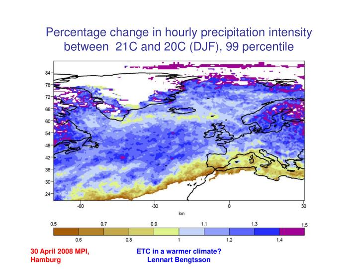 Percentage change in hourly precipitation intensity  between  21C and 20C (DJF), 99 percentile