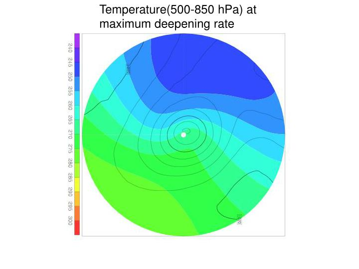 Temperature(500-850 hPa) at maximum deepening rate