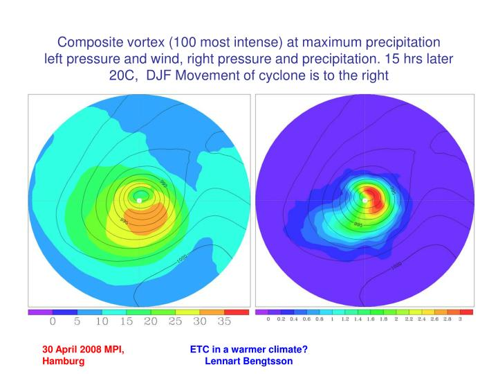 Composite vortex (100 most intense) at maximum precipitation