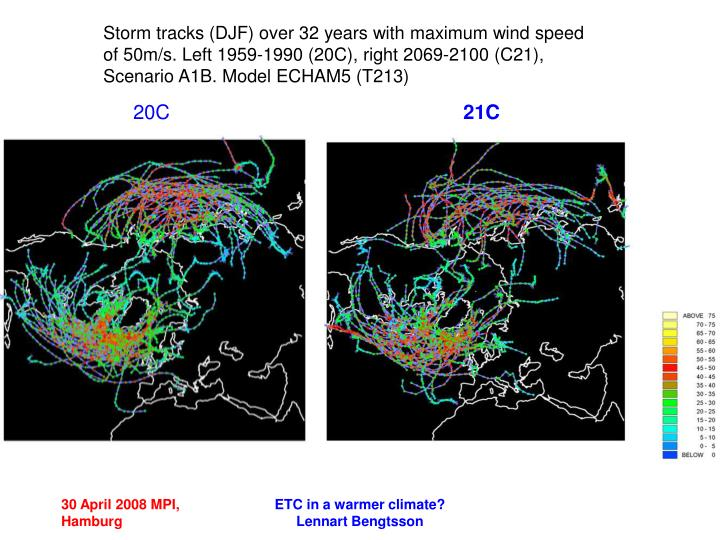 Storm tracks (DJF) over 32 years with maximum wind speed of 50m/s. Left 1959-1990 (20C), right 2069-2100 (C21), Scenario A1B. Model ECHAM5 (T213)