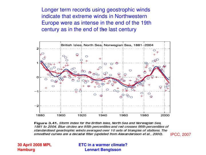 Longer term records using geostrophic winds indicate that extreme winds in Northwestern Europe were as intense in the end of the 19th century as in the end of the last century