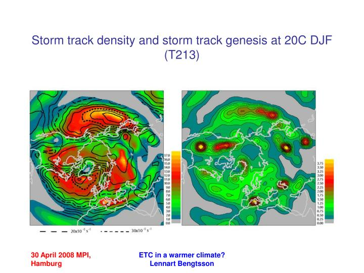 Storm track density and storm track genesis at 20C DJF (T213)