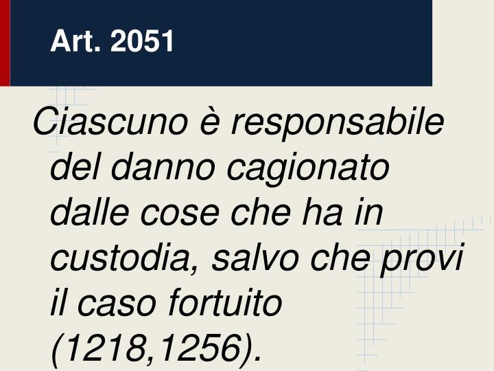 Art. 2051: Danno cagionato da cosa in custodia