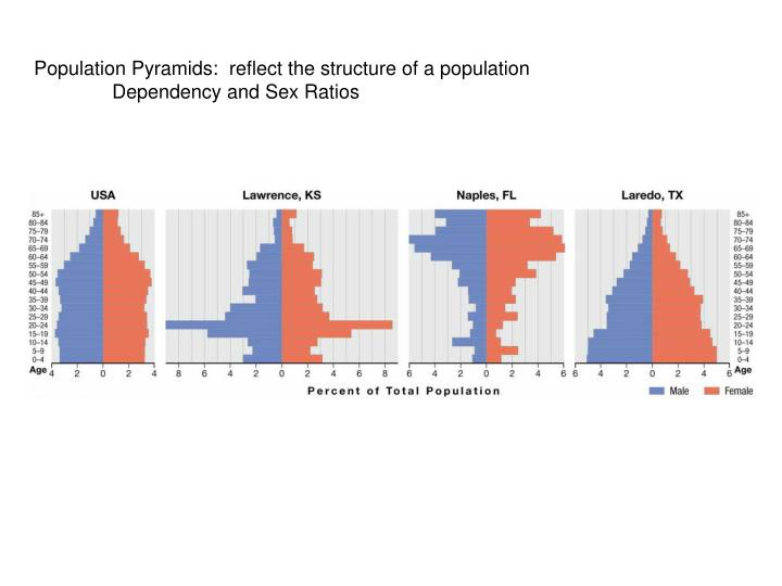 Population Pyramids:  reflect the structure of a population