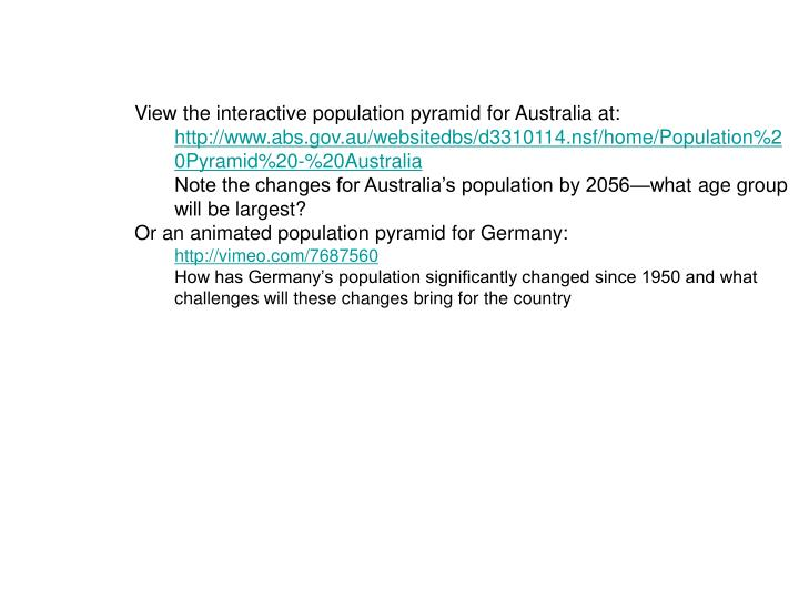 View the interactive population pyramid for Australia at: