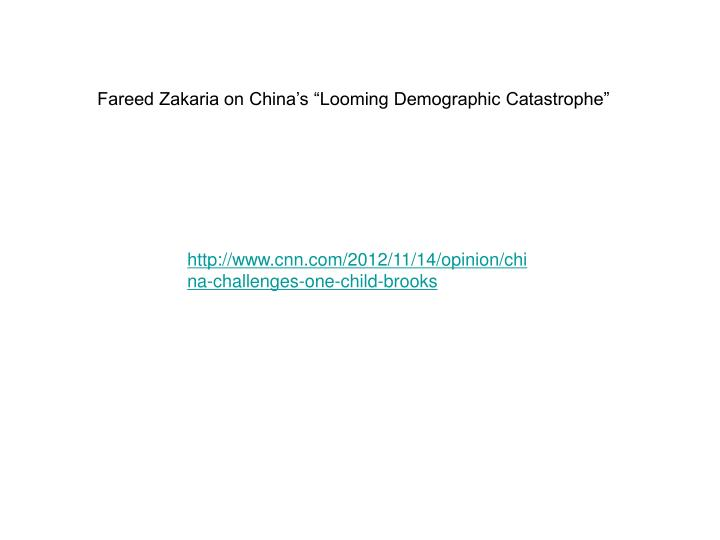 "Fareed Zakaria on China's ""Looming Demographic Catastrophe"""