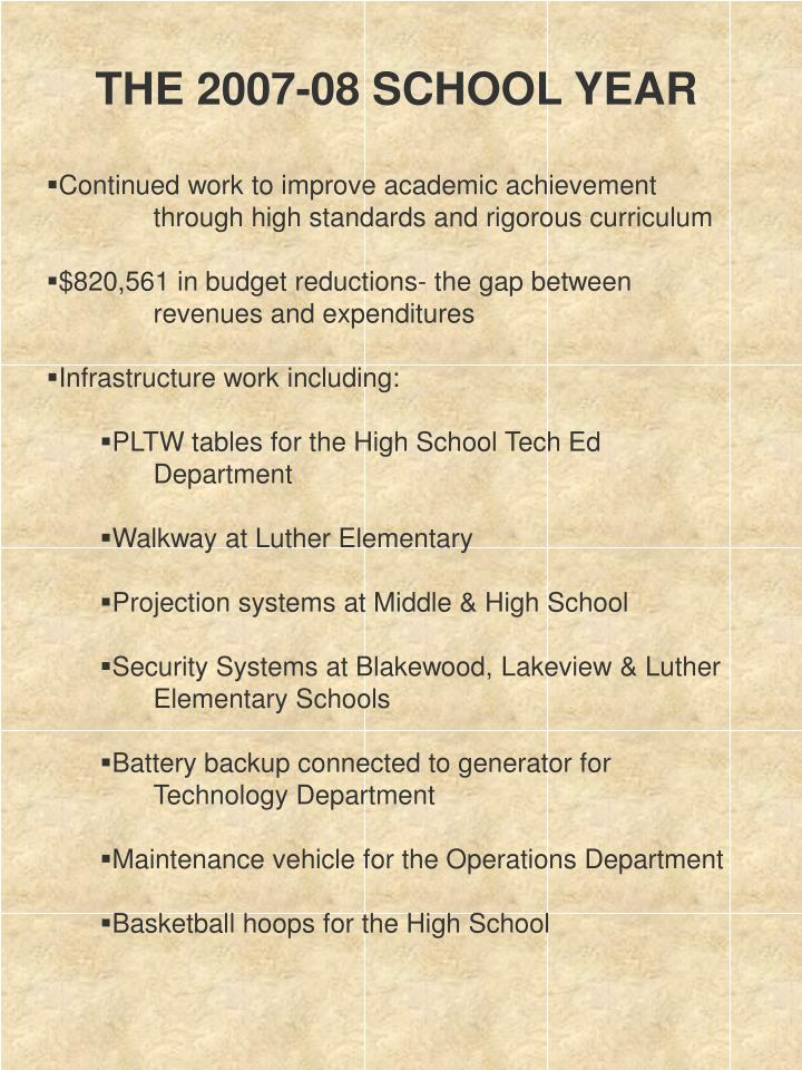 THE 2007-08 SCHOOL YEAR