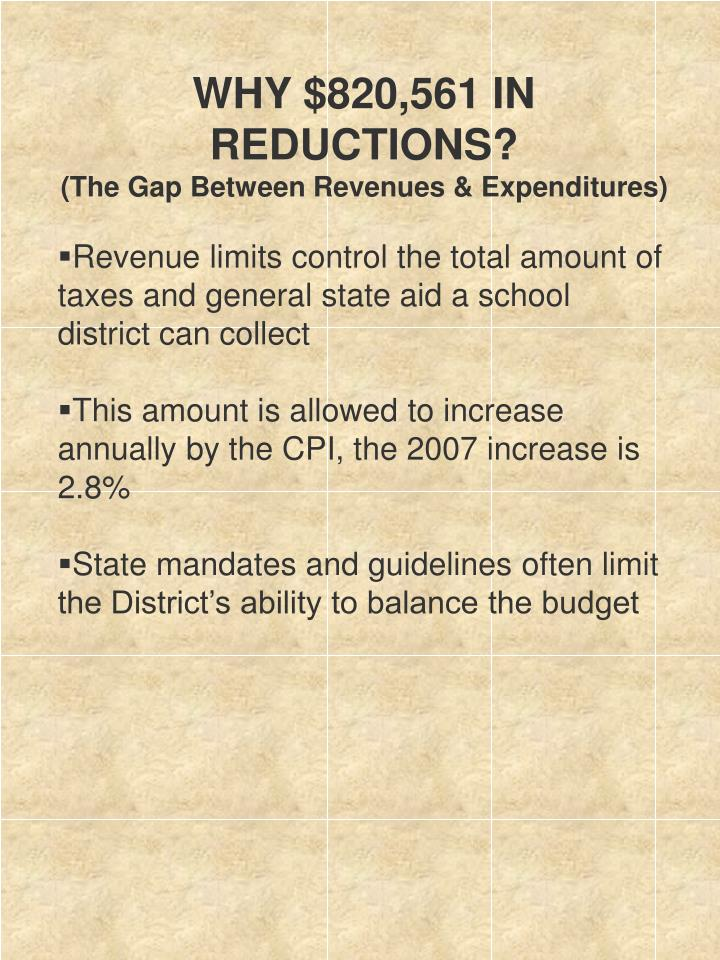 WHY $820,561 IN REDUCTIONS?
