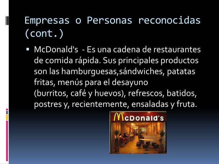Empresas o Personas reconocidas (cont.)