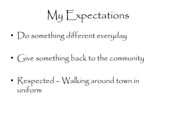 My expectations