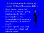 recommendations for improving coastal wetlands restoration efforts