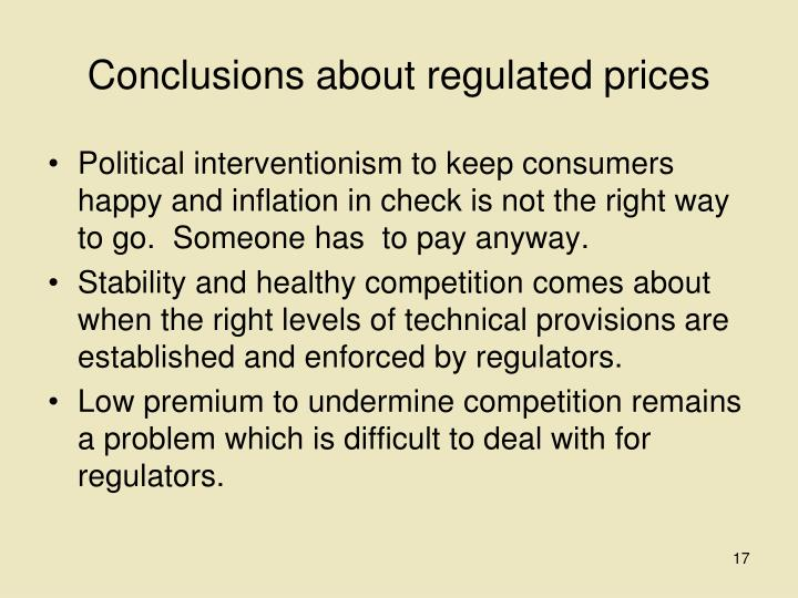Conclusions about regulated prices
