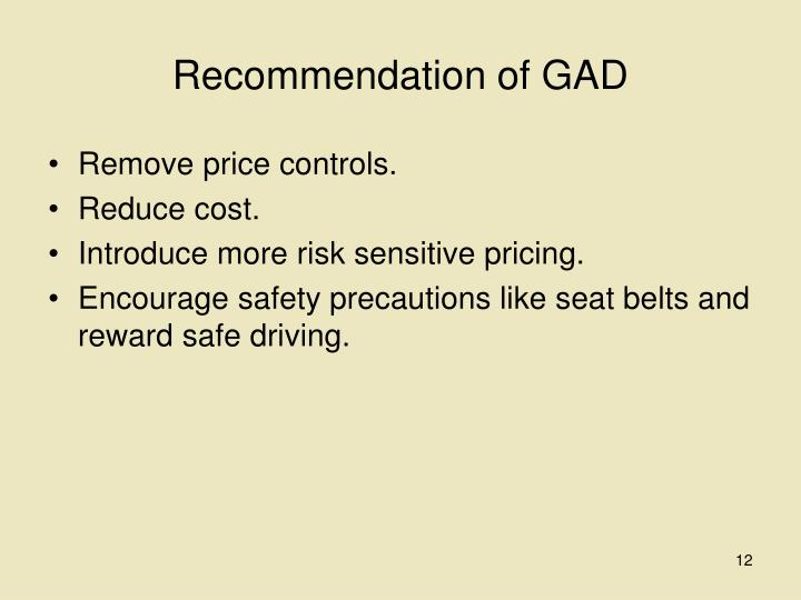Recommendation of GAD