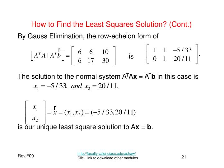 How to Find the Least Squares Solution? (Cont.)