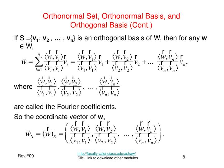 Orthonormal Set, Orthonormal Basis, and