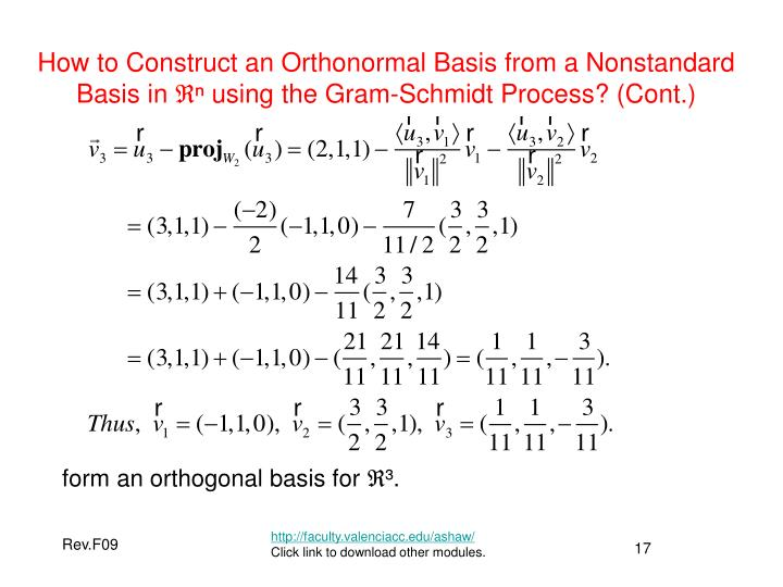 How to Construct an Orthonormal Basis from a Nonstandard Basis in