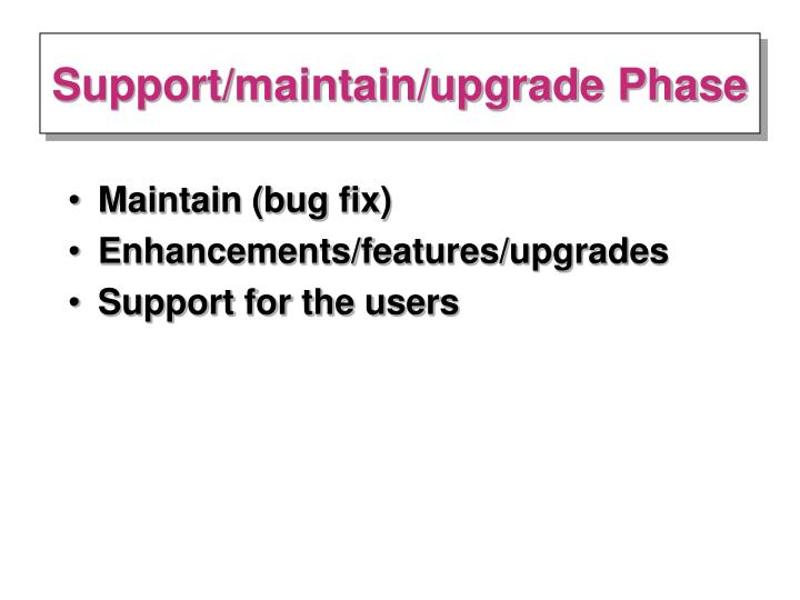 Support/maintain/upgrade Phase
