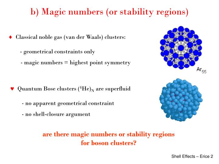 b) Magic numbers (or stability regions)