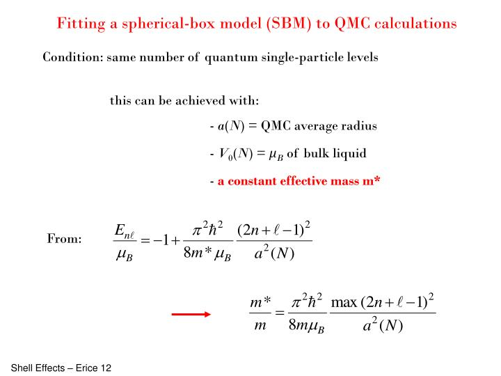 Fitting a spherical-box model (SBM) to QMC calculations