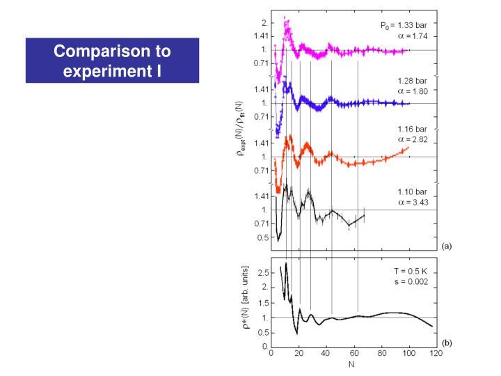 Comparison to experiment I