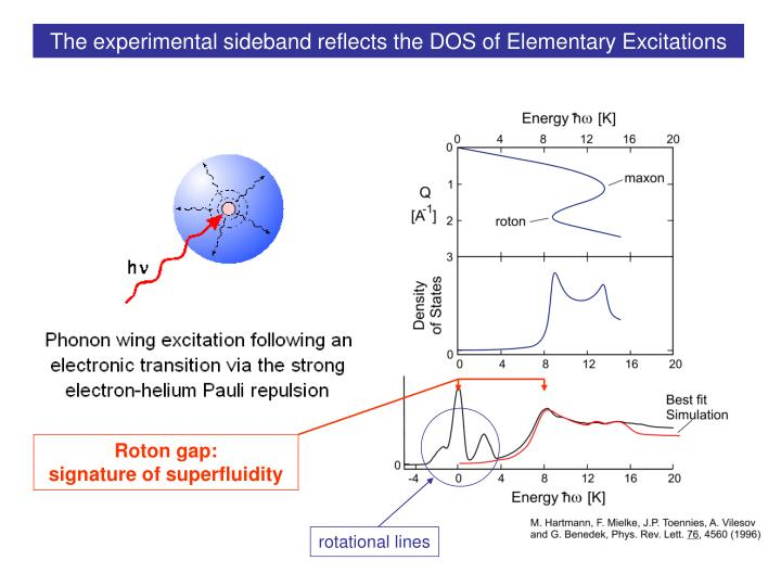 The experimental sideband reflects the DOS of Elementary Excitations