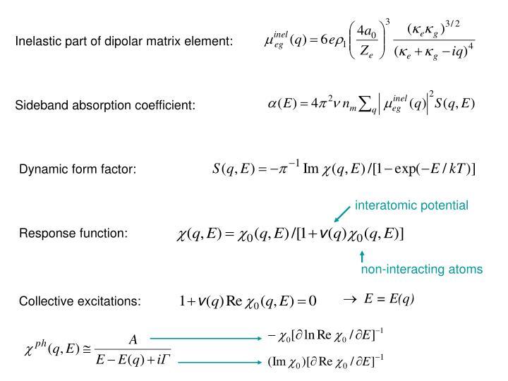 Inelastic part of dipolar matrix element: