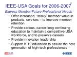 ieee usa goals for 2006 2007 express member future professional needs
