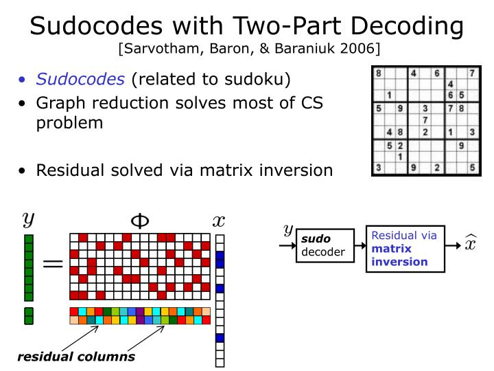 Sudocodes with Two-Part Decoding