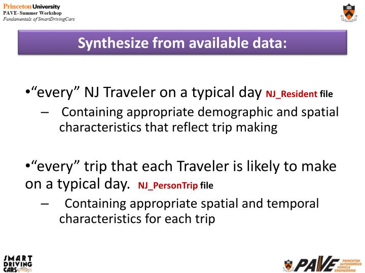 Synthesize from available data:
