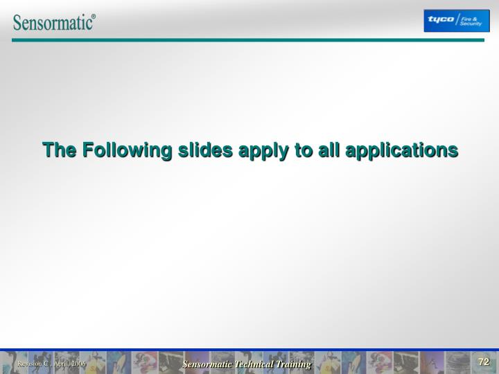 The Following slides apply to all applications