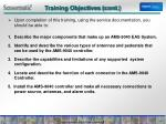training objectives cont