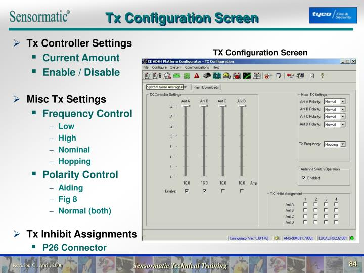 Tx Configuration Screen
