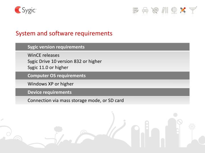 System and software requirements