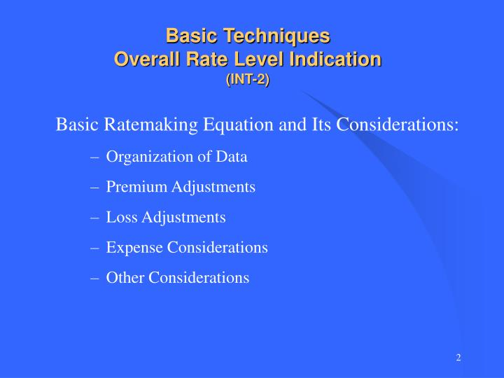 Basic techniques overall rate level indication int 2