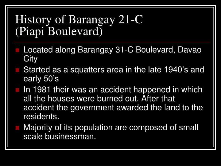 History of Barangay 21-C