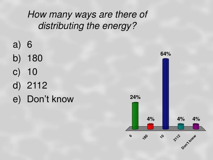 How many ways are there of distributing the energy?