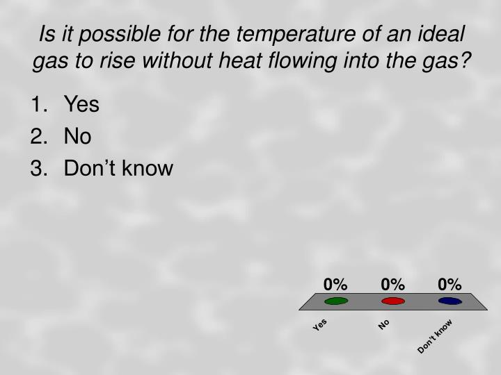 Is it possible for the temperature of an ideal gas to rise without heat flowing into the gas?