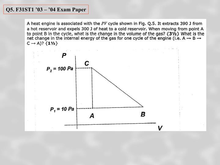 Q5. F31ST1 '03 – '04 Exam Paper