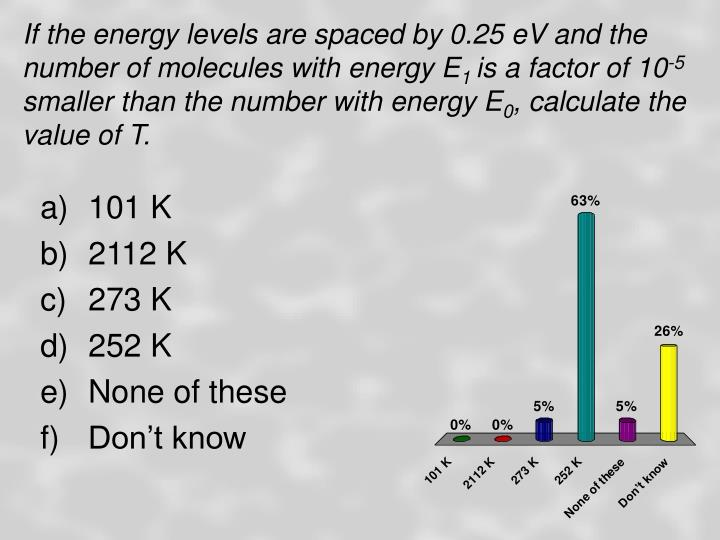 If the energy levels are spaced by 0.25 eV and the number of molecules with energy E