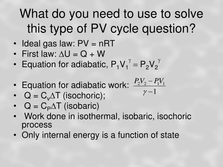 What do you need to use to solve this type of PV cycle question?