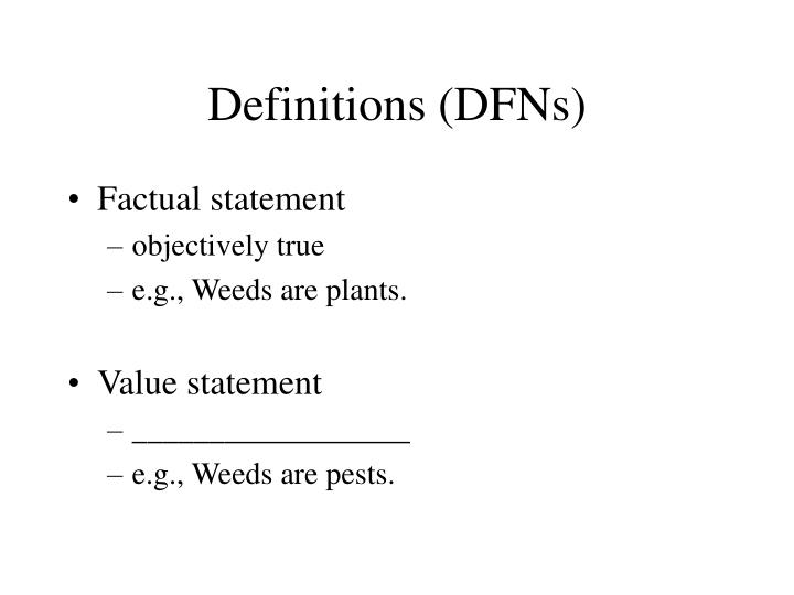 Definitions (DFNs)