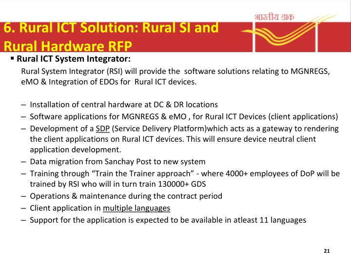 6. Rural ICT Solution: Rural SI and