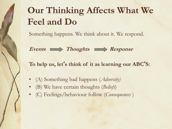 Our Thinking Affects What We Feel and Do