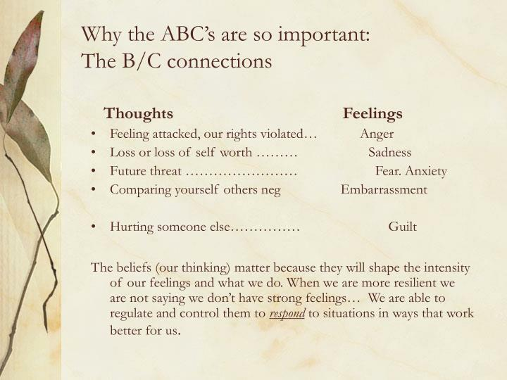 Why the ABC's are so important:
