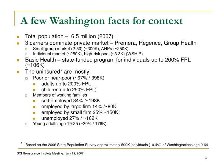 A few Washington facts for context